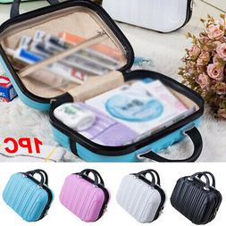 14 Inch Travel Vertical Striped Cosmetic Bag Hard Suitcase S