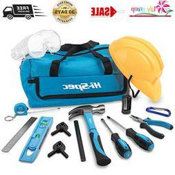 18 Pcs Kids Tool Kit + Tool Bag-Kids Apron,Pretend Play Hard
