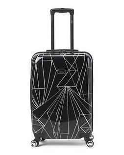 "NICOLE MILLER 24"" in Linear Hard Case Spinner Black Suitcase"