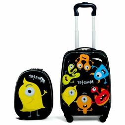 2Pc Kids Boys Luggage Set Hard Shell Rolling Trolley Suitcas