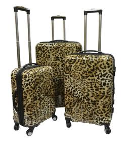 3 Set Leopard Hard Side Spinner Luggage Bag Suitcase Wheels