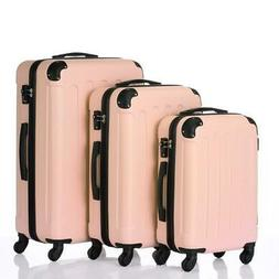 """3Pcs Luggage Set PC+ABS Trolley Spinner 20""""/24""""/28"""" Suitcase"""
