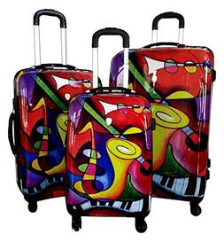 Dejuno Saxaphone Hard Rolling 4 Wheel Spinner Luggage Set, 3