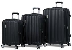 Black Hard Case 3PC Rolling Spinner Luggage Suitcase Set - T