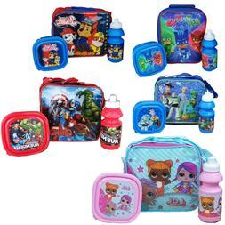 Childrens Kids Insulated 3pcs Lunch Bag Set Box Kids Boys Gi