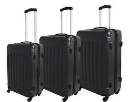 Dejuno Black ABS Hard Case 3-PC Rolling Spinner Luggage Suit