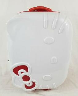 """Hello Kitty Face 18"""" White Red Bow Hard Rolling Suitcase Lug"""