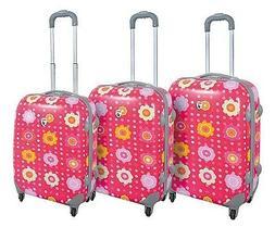 Flower Pink Polka Dot Hard Case 3PC Rolling Travel Spinner L