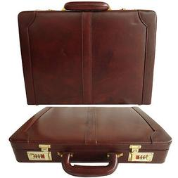Genuine Leather Hard Briefcase Vintage Style Attache Case Ba