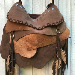 handmade BROWN leather  HARD ROCK hobo grunge  shoulder bag