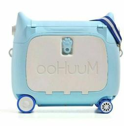 MUUHOO Hard Case Luggage Suitcase Kids Ride On Blue