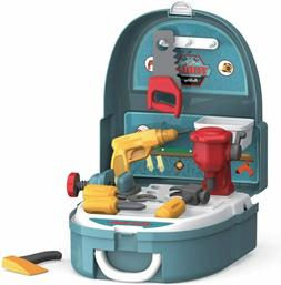 Hunson Hard Hat Kidz Deluxe Tool Construction Set Suitcase (