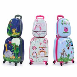 2 Pcs Children Travel Trolley Hard Shell Suitcase School Bag