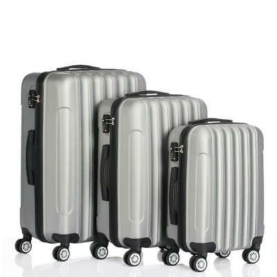 3 PCS Luggage Travel Set Bag ABS Trolley Hard Suitcase lock Grey