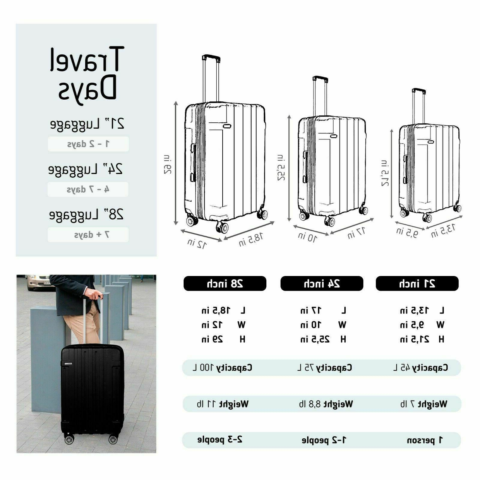 """30"""" Luggage Cabin Carry BLACK ABS Spinner Hard Lightwheight"""