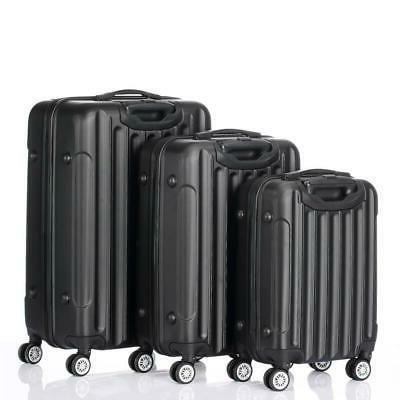 3PCS Luggage Travel Bag Shell Lock US Black