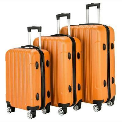 3PCS Luggage Bag Hard Shell Suitcase w/Smooth