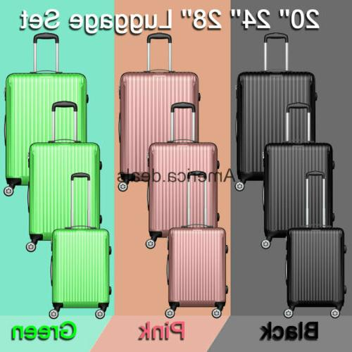 abs luggage set hard rolling suitcase lightweight