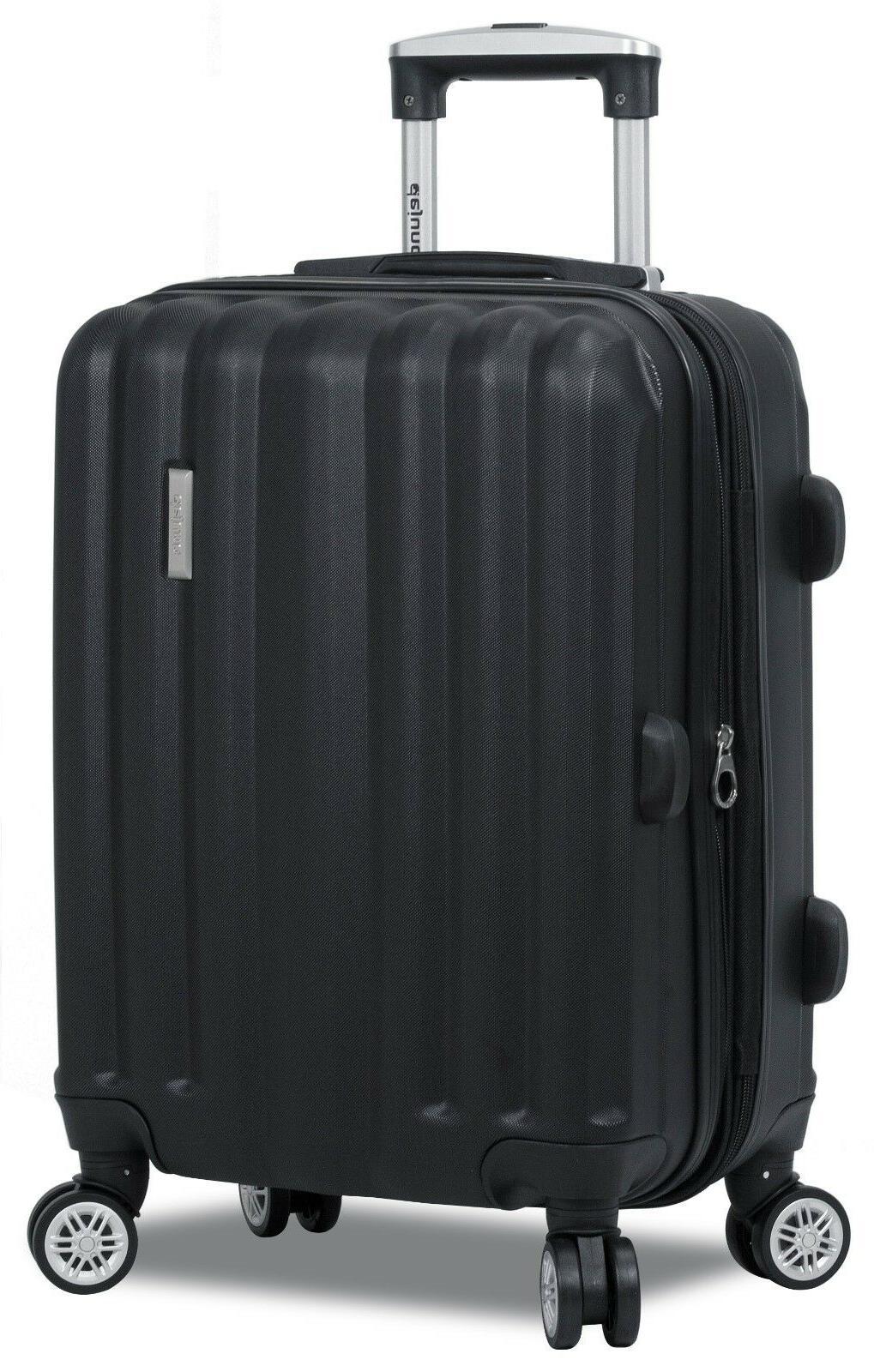 Black Rolling Spinner Luggage Set TSA & Wheels