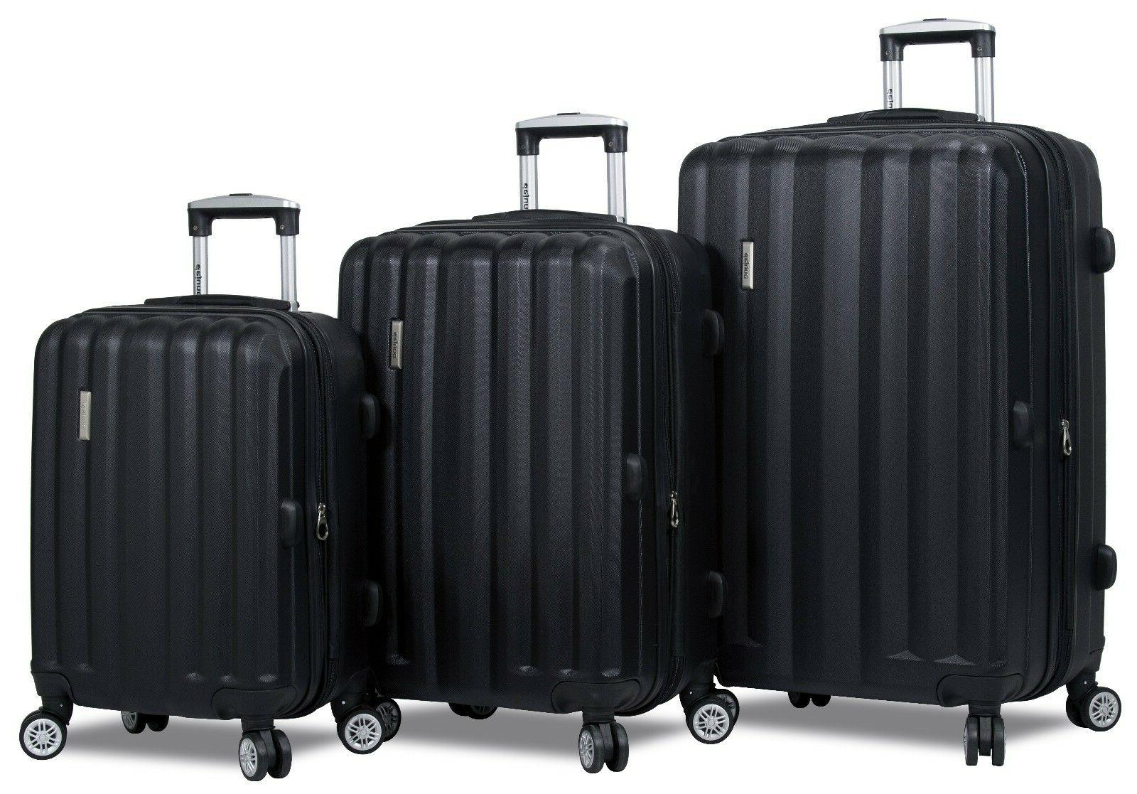 black hard case 3pc rolling spinner luggage
