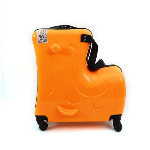 children riding in suitcases ride on luggage