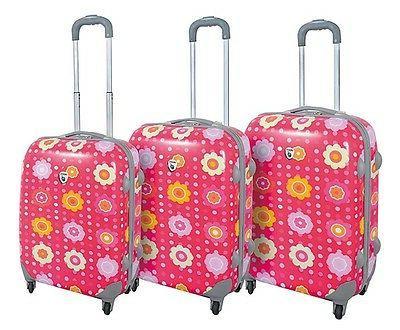 flower pink polka dot hard case 3pc