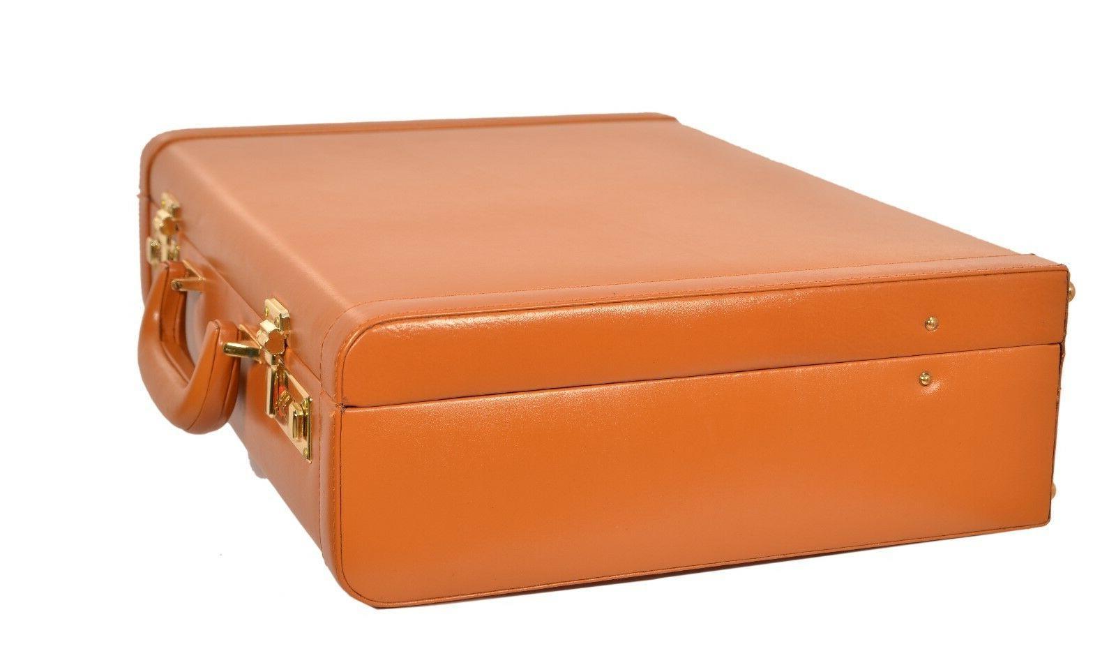 Hard Briefcase Retro Tan Luggage