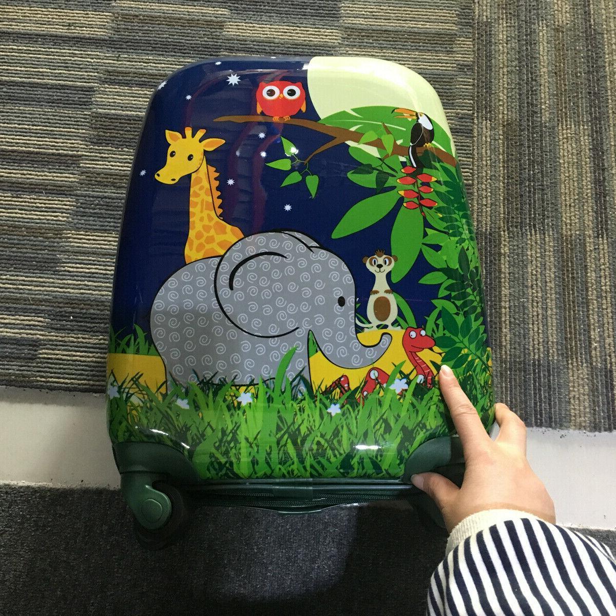 2 Trolley Shell Suitcase School Bag Set