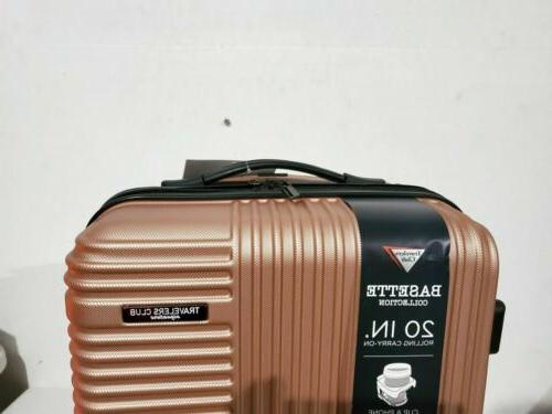 "Travelers Club 20"" Rose Gold Suitcase Spinner Carry On"