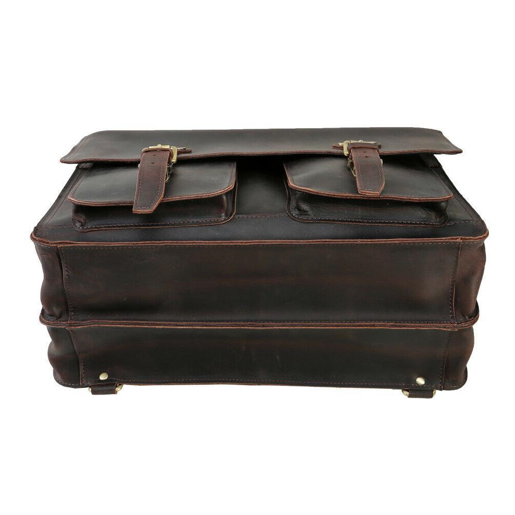 """Men Leather 16"""" Laptop Briefcase Shoulder Handbag Satchel"""