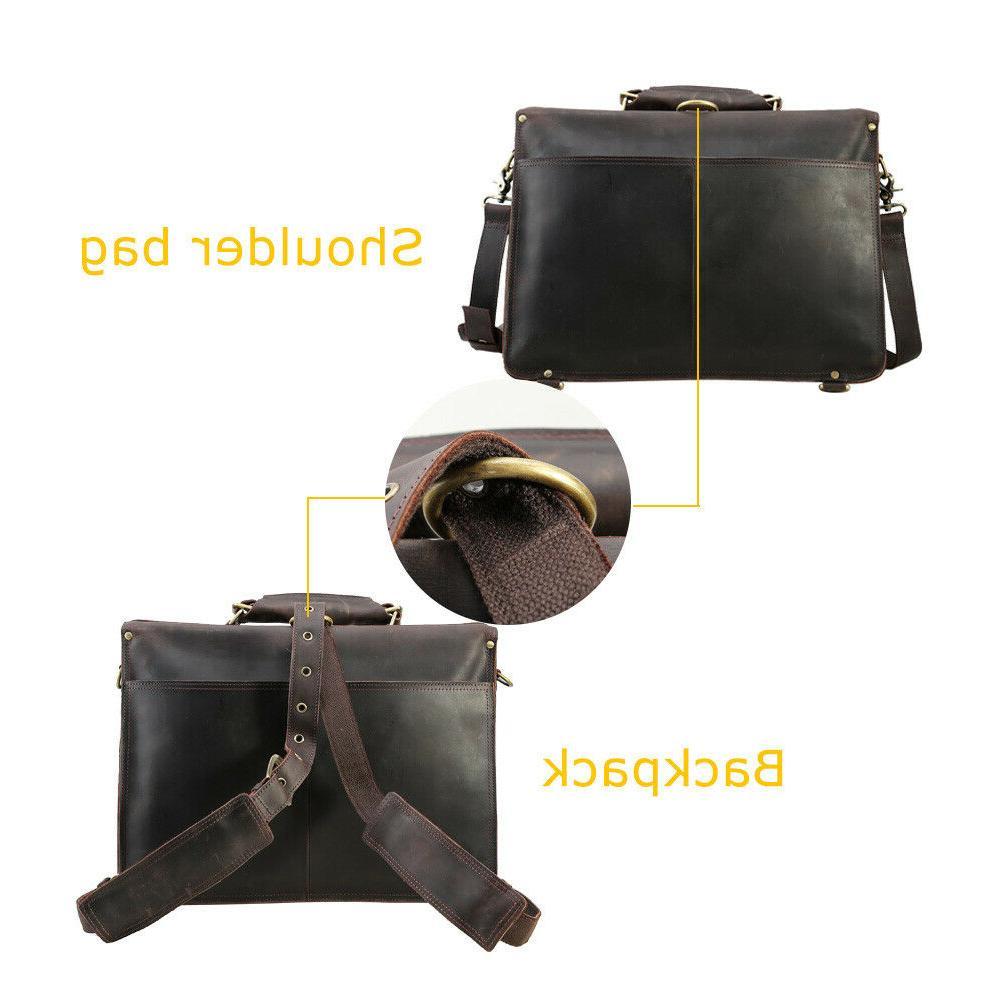 Men Leather Backpack Laptop Handbag Daypack Satchel