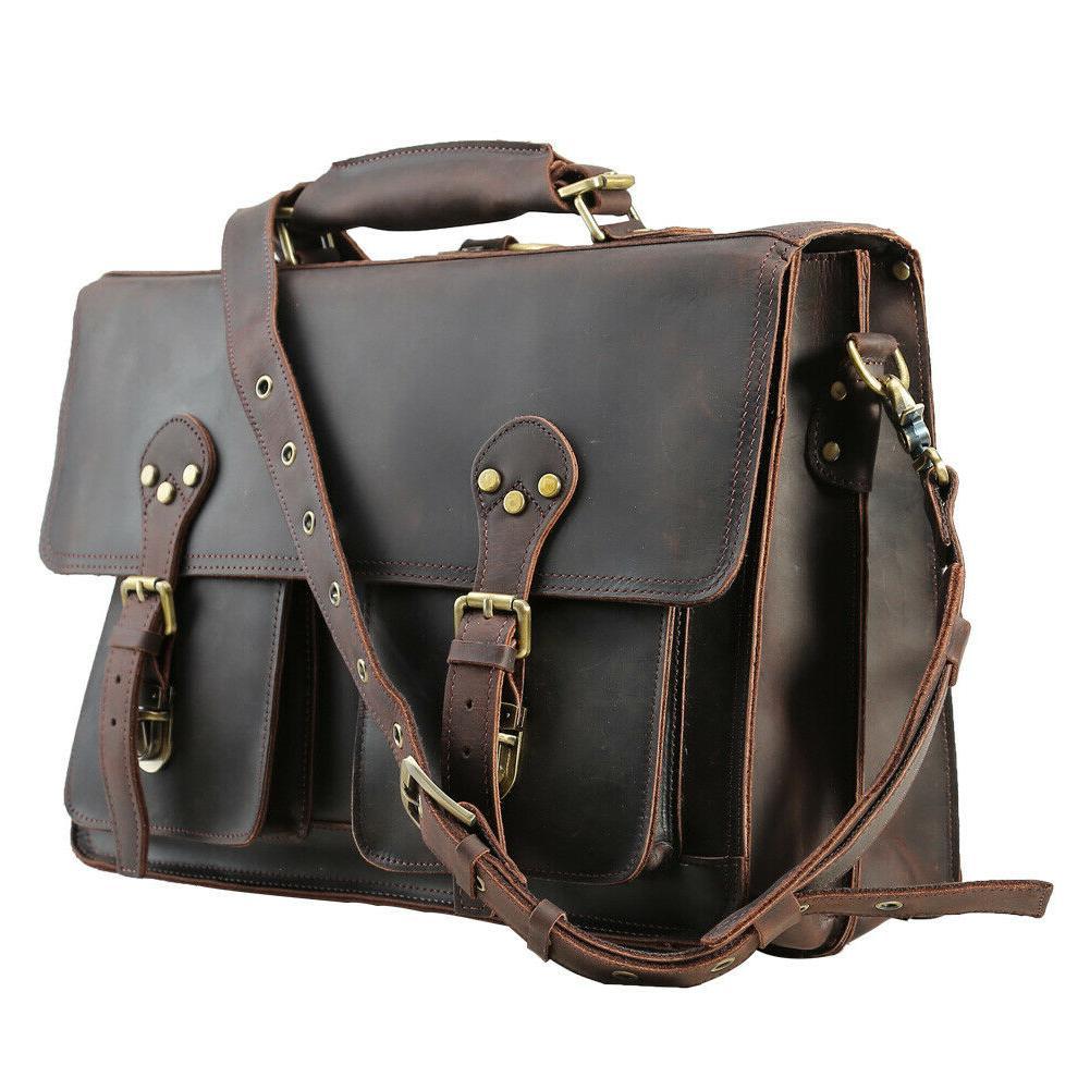 Men Leather Backpack Laptop Briefcase Shoulder Handbag Daypack