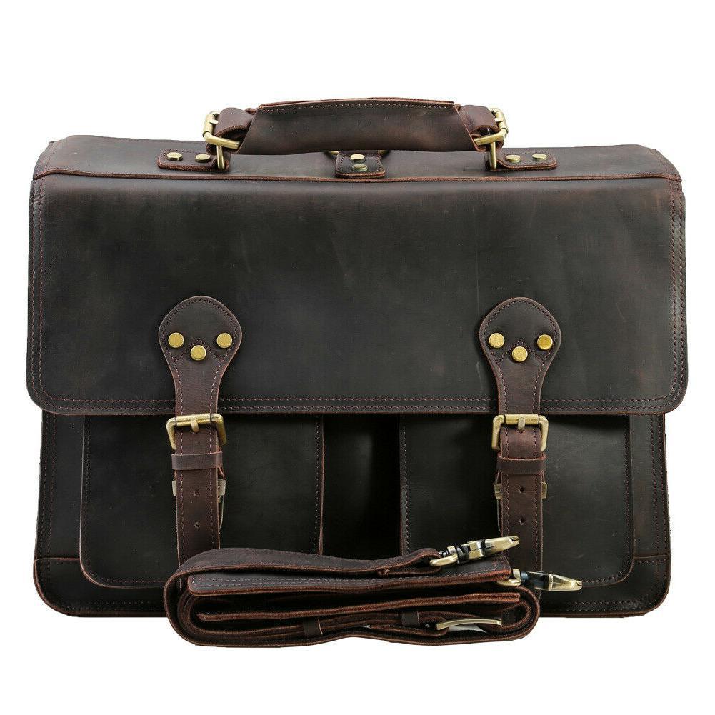 men leather backpack 16 laptop briefcase shoulder