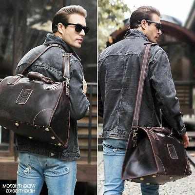 Men's Large Leather Travel Bag Duffle Messenger