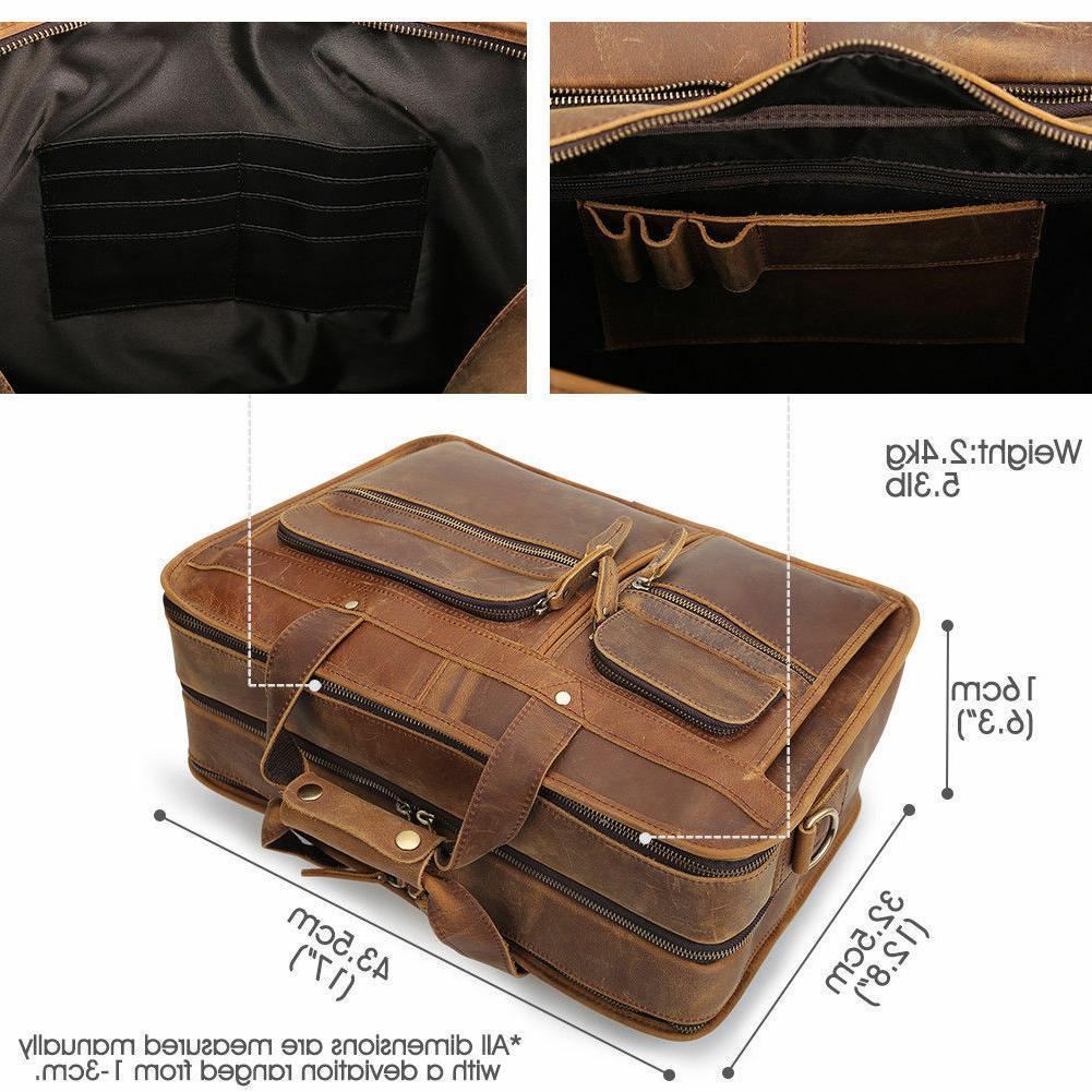 Men Leather Messenger Bag for Laptop Satchel