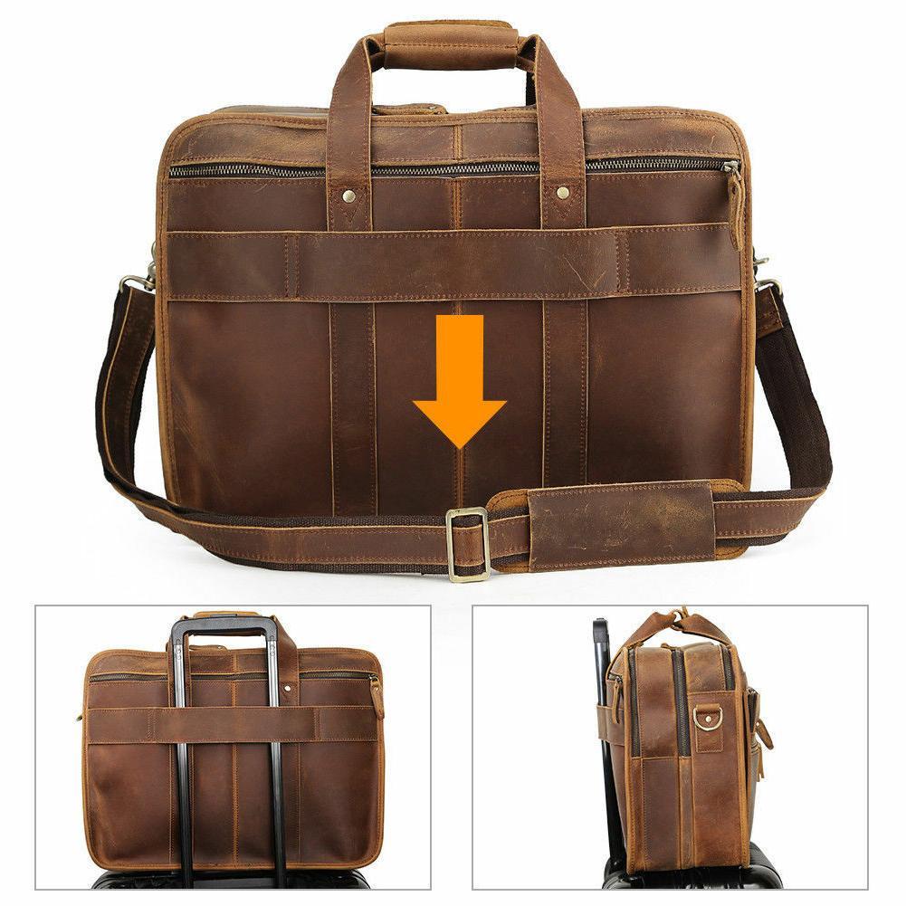 Men Leather Messenger Bag Laptop Tote Satchel