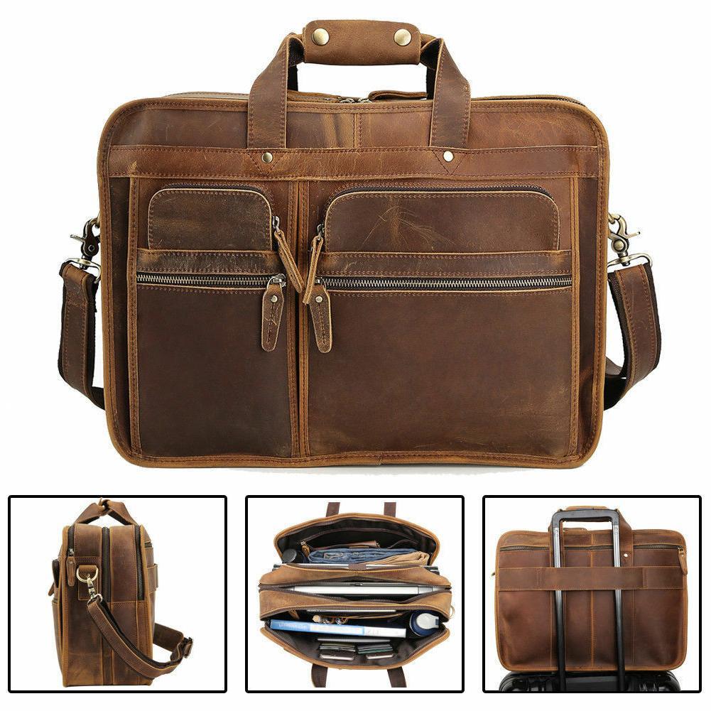 men vintage leather travel messenger bag