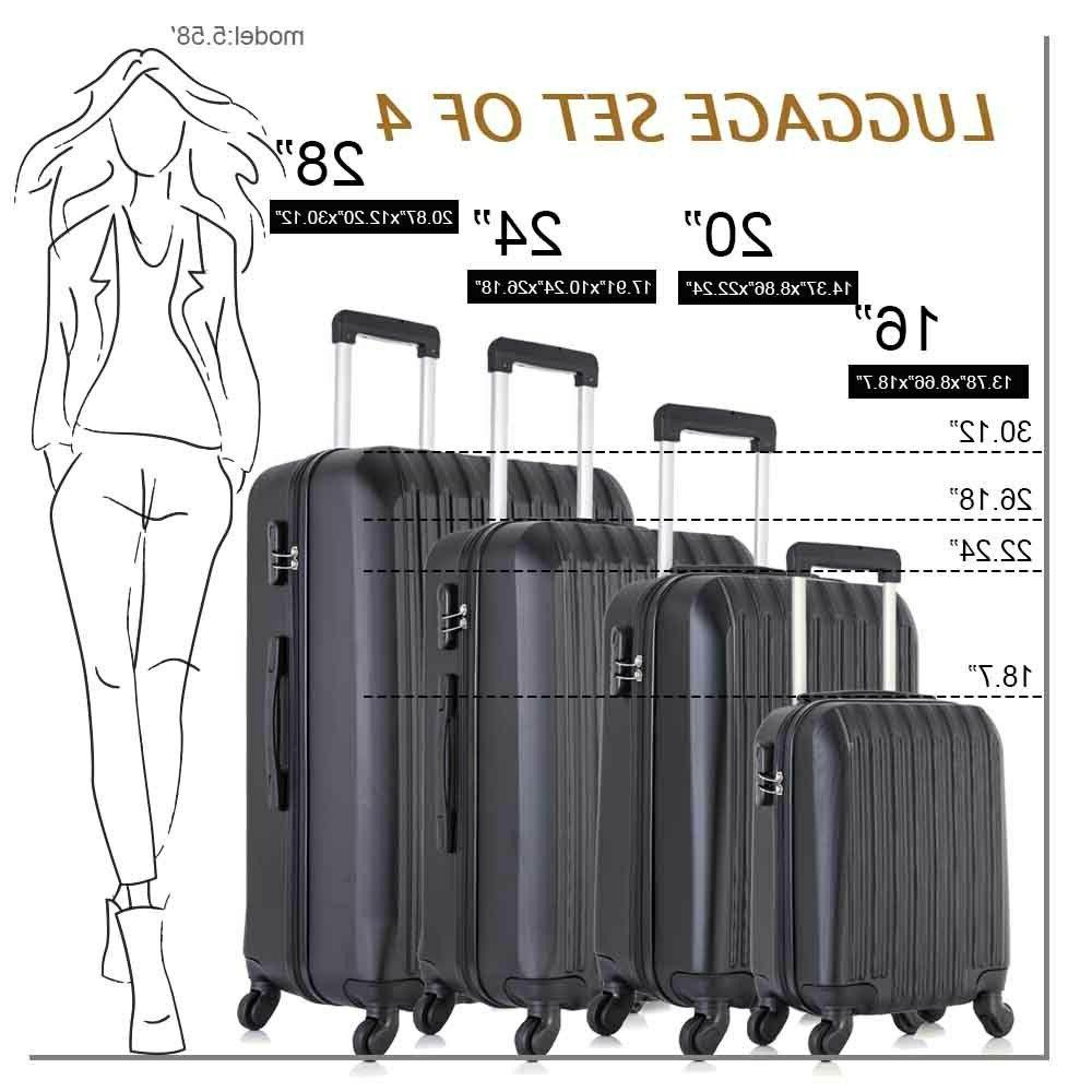 """16"""" 24"""" Luggage 4 Piece ABS Lightweight with"""