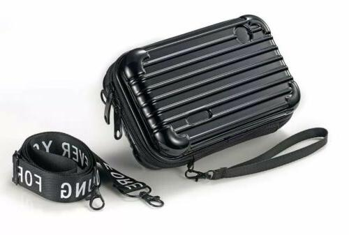 Whollyup Mini Suitcase Cosmetic Bag,Hard Cosmetic Portable T