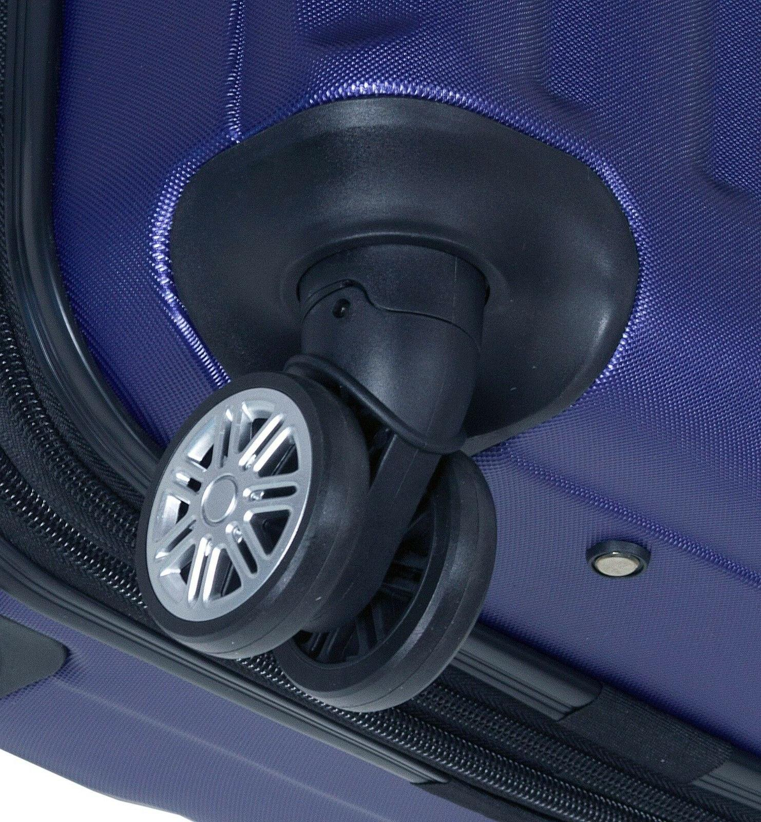 Navy Hard 3PC Rolling Spinner Suitcase Set & Wheels