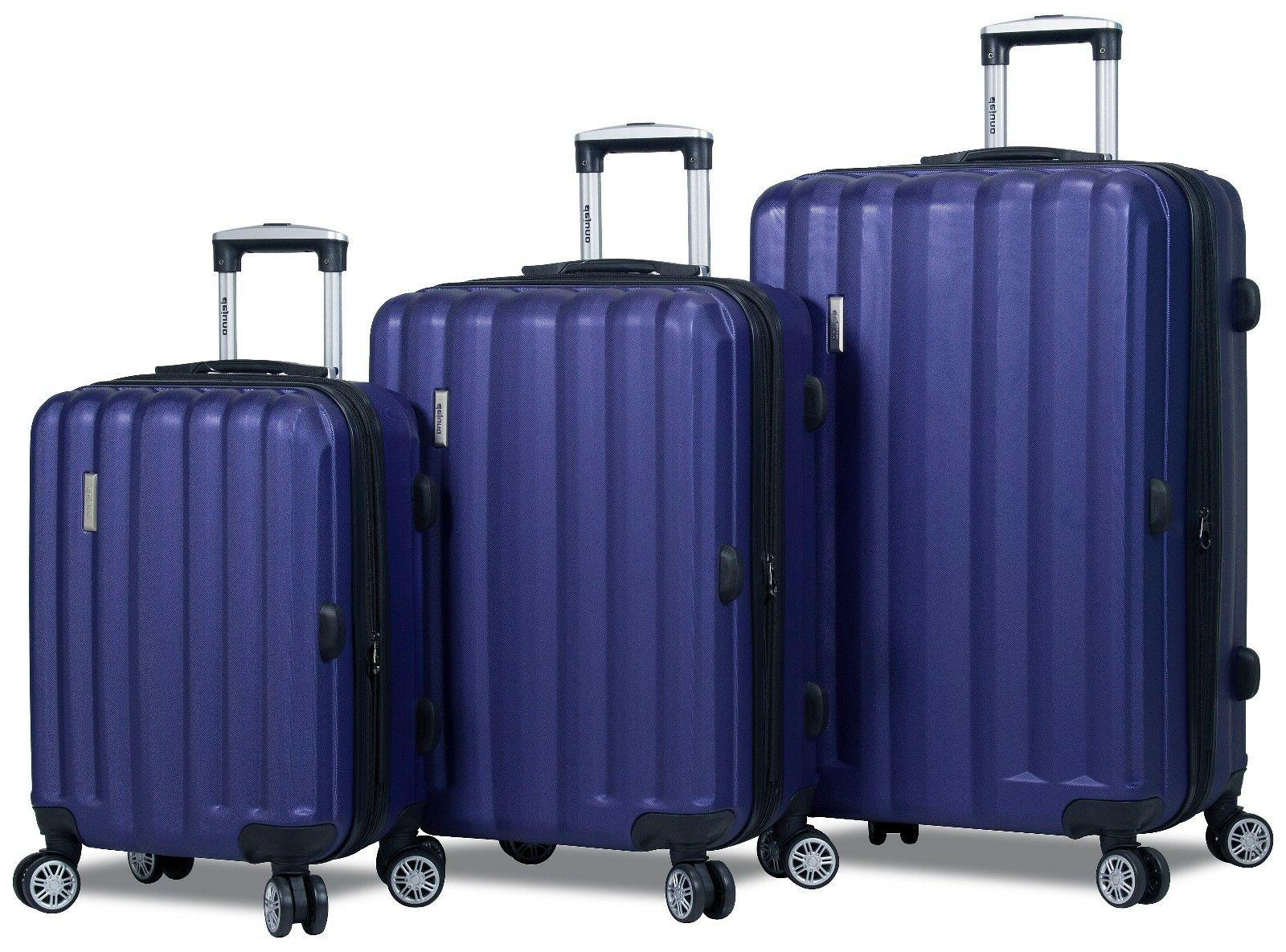 navy hard case 3pc rolling spinner luggage