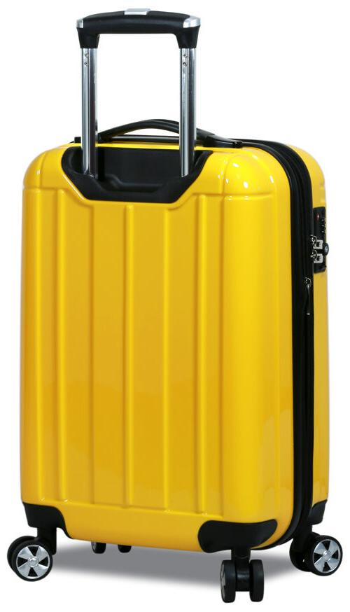 New Dejuno Polycarbonate Hard Shell Spinner Suitcases Luggage set-Yellow
