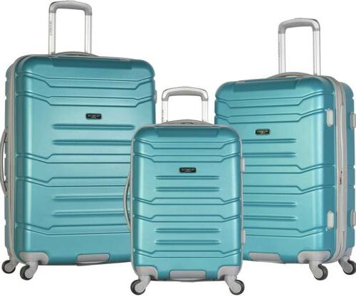 new 3 piece suitcases color teal hard