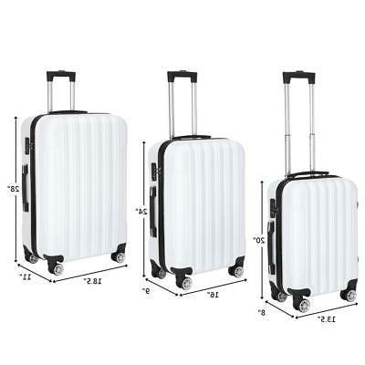 New 3PCS Luggage Set Bag ABS Hard Shell Suitcase w/TSA lock