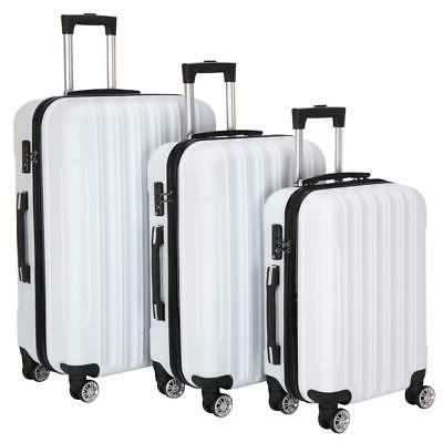 New 3PCS Set Bag ABS Hard Suitcase lock White