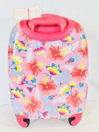 new pink hibiscus hard sided small suitcase