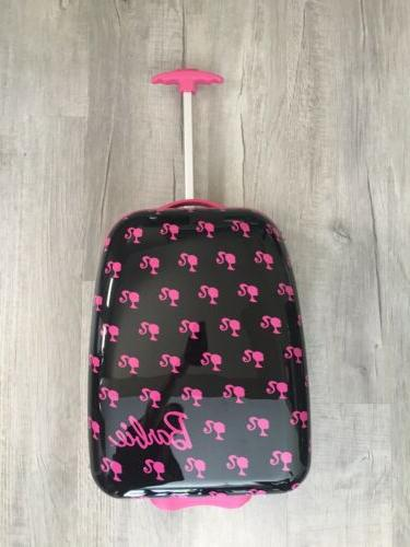 nwot black pink hard suitcase rolling real