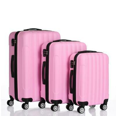 pink 3x travel luggage set bag abs
