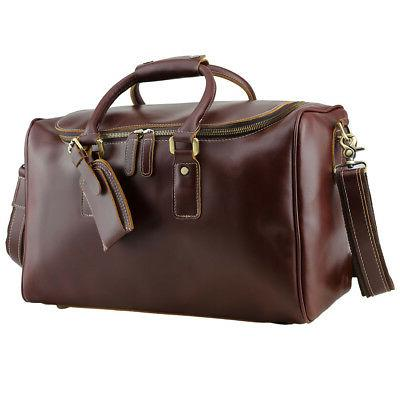 Real Leather Outdoor Luggage Suitcases Men Travel Duffle Messenger