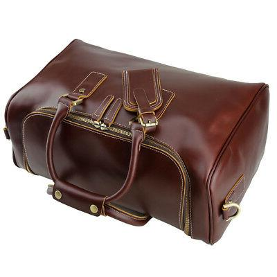 Real Leather Suitcases Men Duffle Gym